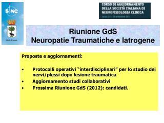 Riunione GdS  Neuropatie Traumatiche e Iatrogene