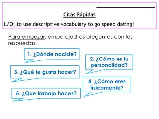 _________________________ Citas Rápidas L/O: to  use descriptive vocabulary to go speed dating!