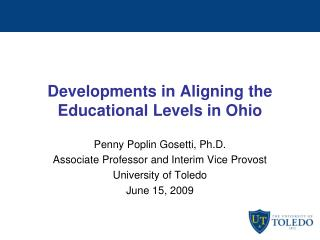 Developments in Aligning the Educational Levels in Ohio