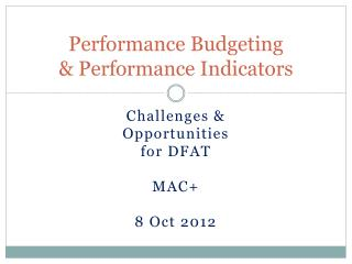 Performance Budgeting & Performance Indicators