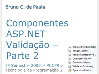 Componentes ASP.NET Validação –  Parte 2