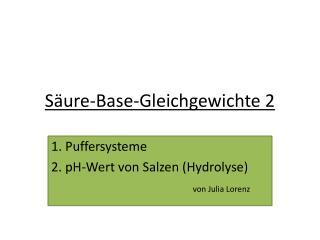 Säure-Base-Gleichgewichte 2