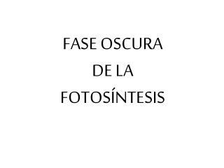 FASE OSCURA DE LA FOTOSÍNTESIS