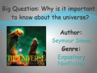 Author:   Seymour Simon Genre:  Expository Nonfiction
