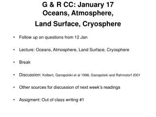 G & R CC: January 17 Oceans, Atmosphere,  Land Surface, Cryosphere