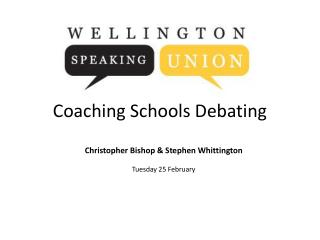 Coaching Schools Debating