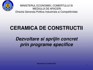 MINISTERUL ECONOMIEI, COMERTULUI SI  MEDIULUI DE AFACERI Directia Generala Politica Industriala si Competitivitate