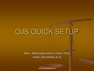 OJS QUICK SETUP