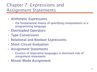 Chapter 7: Expressions and  Assignment Statements