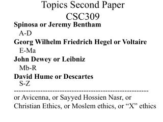 Topics Second Paper CSC309