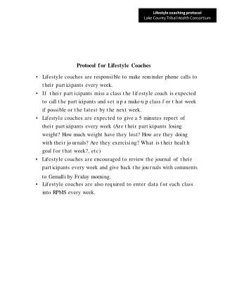 Protocol  f or Lif estyle Coaches