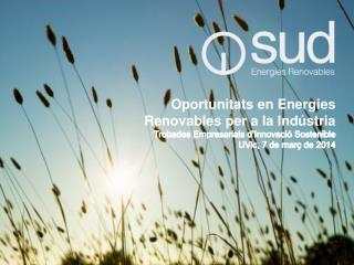 Oportunitats en Energies Renovables  per a  la  Indústria