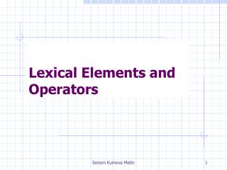 Lexical Elements and Operators