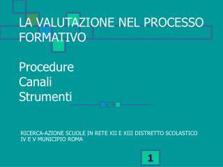 LA VALUTAZIONE NEL PROCESSO FORMATIVO  Procedure  Canali Strumenti