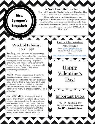 Week of February 10 th  – 14 th