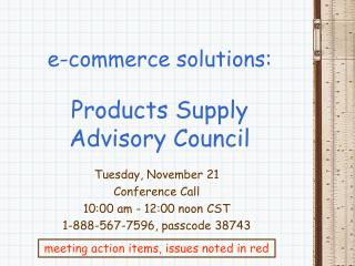 e-commerce solutions: Products Supply Advisory Council
