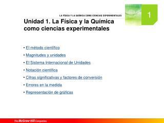Unidad 1. La Física y la Química como ciencias experimentales