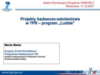 """Projekty badawczo-szkoleniowe  w 7PR – program """"Ludzie"""""""