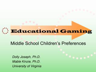 Educational Gaming Middle School Children's Preferences