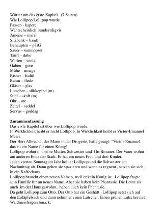 Wörter um  das  erste  Kapitel   (7  Seiten )  Wie Lollipop Lollipop wurde Fassen  - kapere