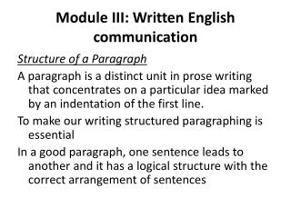 Module III: Written English communication