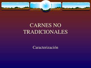CARNES NO TRADICIONALES
