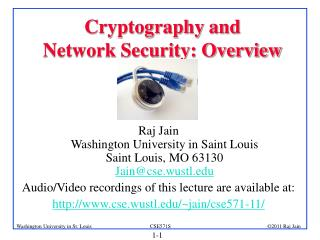 Cryptography and  Network Security: Overview