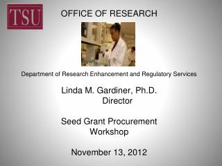 DEPARTMENT OF RESEARCH ENHANCEMENT AND REGULATORY SERVICES