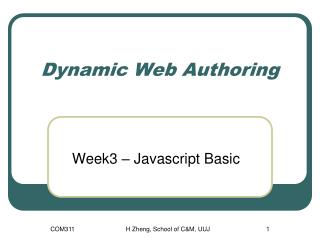 Dynamic Web Authoring