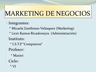 MARKETING  DE NEGOCIOS