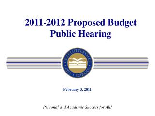 2011-2012 Proposed Budget Public Hearing