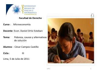 Facultad de Derecho Curso  :    Microeconomía