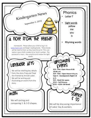 Kindergarten News September 2, 2014