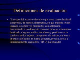 Definiciones de evaluaci n