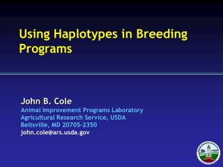Using Haplotypes in Breeding Programs