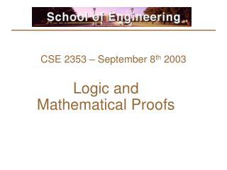 CSE 2353 – September 8 th  2003