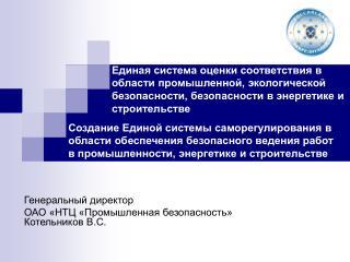 Генеральный директор ОАО «НТЦ «Промышленная безопасность» Котельников В.С.
