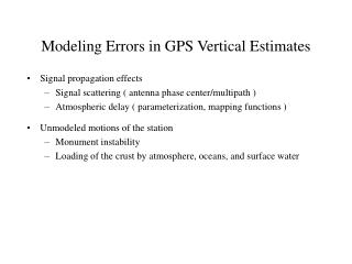 Modeling Errors in GPS Vertical Estimates