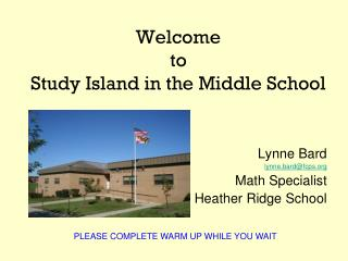 Welcome  to  Study Island in the Middle School