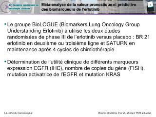Méta-analyse  de la valeur pronostique et  prédictive  des  biomarqueurs de l' erlotinib