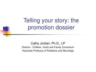 Telling your story: the promotion dossier
