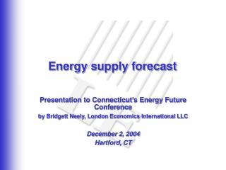 Energy supply forecast
