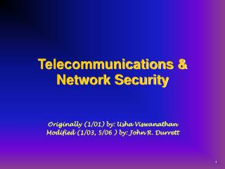 Telecommunications & Network Security
