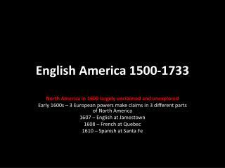English America 1500-1733