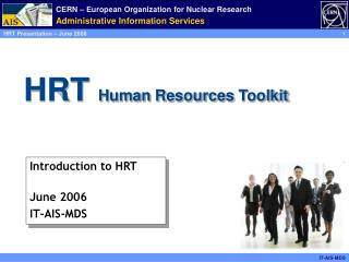 HRT   Human  Resources  Toolkit