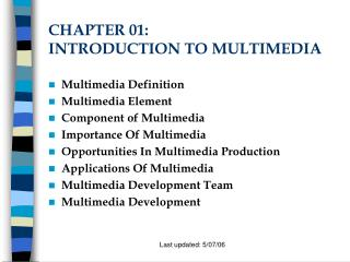 CHAPTER 01:  INTRODUCTION TO MULTIMEDIA