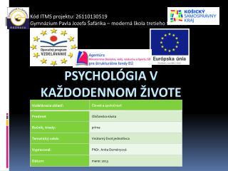 Psychológia v každodennom živote