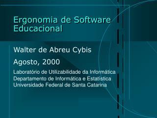 Ergonomia de Software Educacional