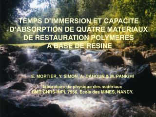 E. MORTIER, Y. SIMON, A. DAHOUN & M. PANIGHI laboratoire de physique des matériaux