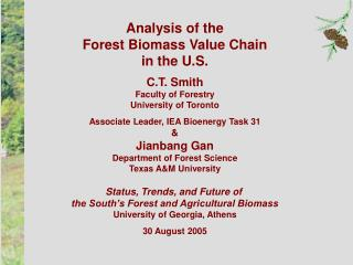 Analysis of the Forest Biomass Value Chain in the U.S. C.T. Smith Faculty of Forestry